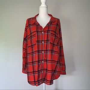 Old navy plus 3x plaid shirt red/blue